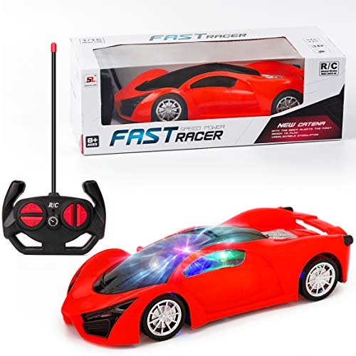 Remote Control Car for Boys 4-7 RC Drifting Cars Light Up Remote Control Racing Car 1/16 Scale Race Car Dazzling LED Lights Best Birthday for Kids Red