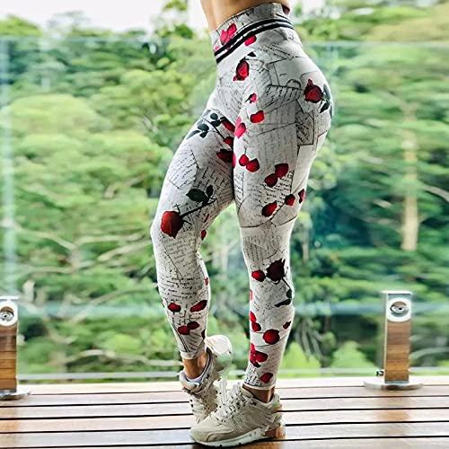 Leggins Mujer,Mujer Vintage Rosa Roja Flor Letra Estampado Encanto Cintura Alta Gimnasio Leggings Deportivos Para Control De Barriga Correr Entrenamiento Medias De Compresión Pilates Estiramiento J