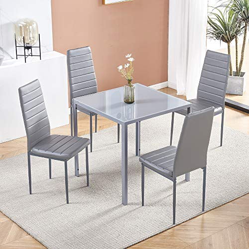 Modern Grey Glass Dining Table and Chairs Set of 4 for Small Kitchen, 5 Piece Grey Glass Tempered Squre Table and 4 Grey PU Leather Chairs for Small Dinette Apartment Space Saving