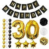 BELLE VOUS Globos Cumpleaños Happy Birthday, Suministros y Decoración Globo Grande de Aluminio - Decoración Globos De Látex Dorado, Blanco y Negro - Apto para Todos los Adultos (Age 30)
