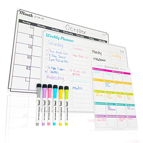 Magnetic Dry Erase Calendar for Fridge: Set of 3 Boards - Large Horizontal 6-Week Magnetic Monthly Calendar + Magnetic to-do List Pad + Magnetic Shopping List Pad for Fridge - with 6 Fine Tip Markers