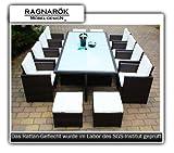 Ragnarök-Möbeldesign PolyRattan Essgruppe DEUTSCHE Marke - EIGNENE Produktion - 8 Jahre GARANTIE Tisch + 8 Stuhl & 4 Hocker Garten Möbel Glas Polster braun Gartenmöbel Aluminium Rattan