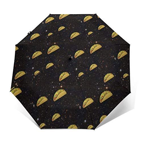 Automatischer dreifach gefalteter Regenschirm Schützen Sie Sonnenschutz Robuste winddichte leichte Regenschirme Nice Taco