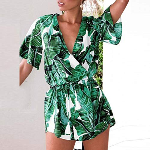 RYGHEWE Women's Summer Jumpsuit Casual Banana Leaf Print Short Sleeve Jumpsuit Sexy Deep V Neck Off Shoulder Jumpsuit Green