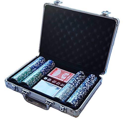 Maletín Poker Profesional 200 fichas, Incluye tapete. Maletín de Aluminio. Set Profesional de póker con fichas.Fichas marcadas con Valor. Cartas Dados Poker