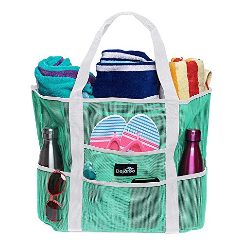 Dejaroo Mesh Beach Bag - Lightweight Tote Bag For Toys & Vacation Essentials (Seafoam/White Handles)