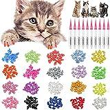 JOYJULY 100pcs Weiche Haustier Katze Kätzchen Klaue Nagel Abdeckungen Kappen steuern Weiche Tatze von 5 Verschiedene Farben Random+5 Klebstoff Kleber, Größe M