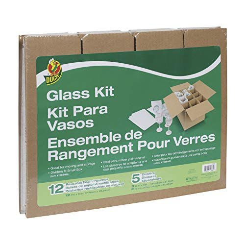 Duck Brand Glass Kit, 5 Corrugate Dividers with 12 Foam Pouches Fits in 16 in. x 12 in. x 12 in. Box (Box Not Included)