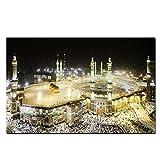 NIEMENGZHEN Leinwandmalerei HD-Druck Mekka Islamische Heilige Landschaft Malerei Religiöse Architektur Muslimische Moschee Wandbild für Wohnzimmer 70x140cm Kein Rahmen