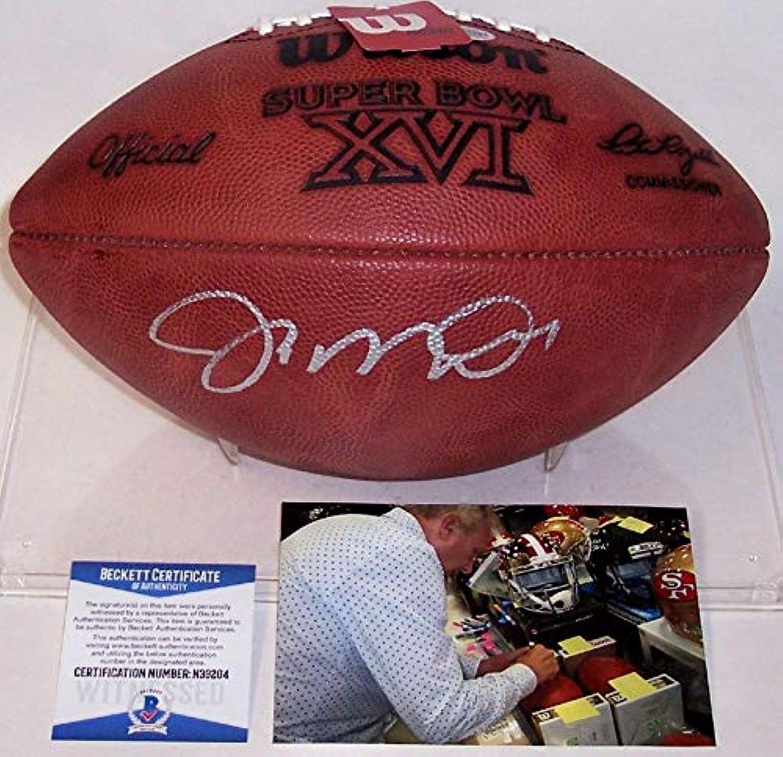 Joe Montana Autographed Hand Super Bowl 16 XVI Official Wilson NFL Leather Football  BAS Beckett