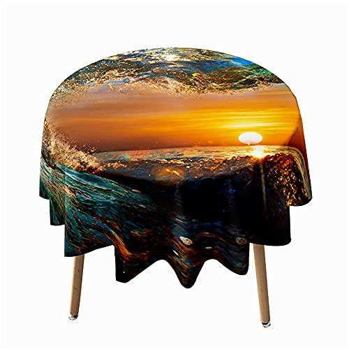 Highdi Impermeable Mantel de Redondo, Antimanchas Lavable Manteles 3D Estampado Oceano Moderno Decoración para Salón Cocina Comedor Mesa Exterior (Agua de mar,Redondo 100cm)