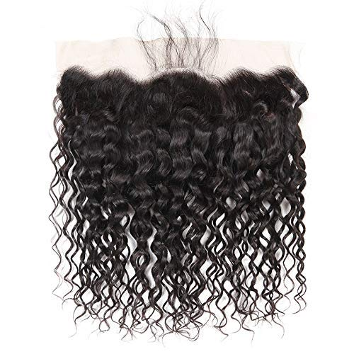 Free Part Ear To Ear 13 x4 Water Wave Lace Frontal Closure with Baby Hair 100% Unprcessed Brazilian Virgin Hair Water Frontal Natural Color (10 inch)