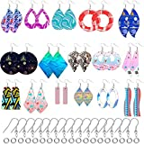 Unfinished Wooden Earrings 32 Pieces Blank Wooden Pendants Teardrop Round Wood Earrings with 32 Pieces Earring Hooks and 32 Pieces Jump Rings for Jewelry DIY Craft Making, 16 Styles in Geometric Shape