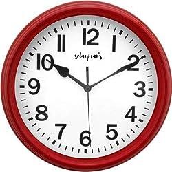 Solayman's Classic Round Wall Clock, Decorative, Modern, Basic Clock - Red