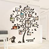 3D Black Trunk Leaves Wall Stickers Happy Family Tree Decal DIY Decor Sticker with DIY Family Photo Frames (Black, M)