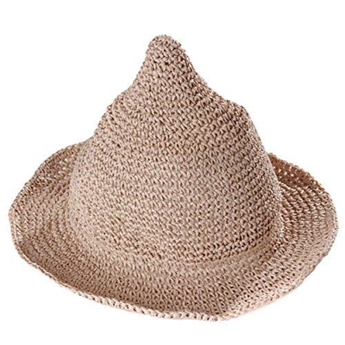 ZUMUii Butterme Enfants Mignon Grand Brim Sun Beach Cap Paille Les Witches Pointu chapeaux de soleil