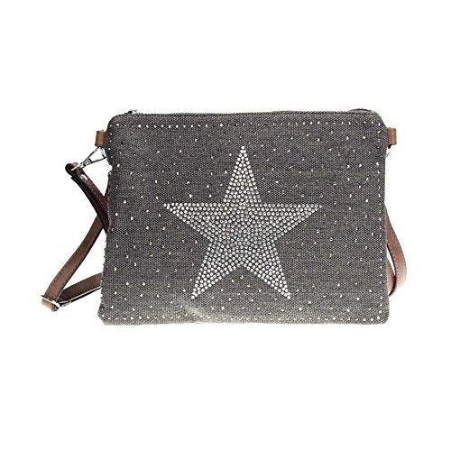 ROSENROT - STARS - Umhängetasche aus Canvas, Sterne aus Strass Schwarz, 28x20cm
