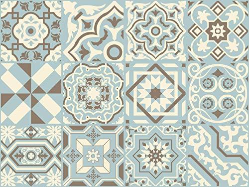 The Nisha 24 PC pegatinas para pared Adhesivo de Pared Salpicadero de Vinilos Azulejos Adhesivos Arte Ecléctico para la Cocina & Baño, 10x10 cm, Azul Delicado