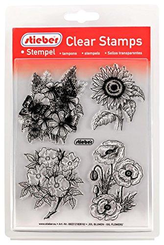 stieber Clear Stamps Transparente Stempel Sets (Bitte gewünschtes Motiv/Thema unten auswählen!) (XXL Blumen - XXL Flowers)