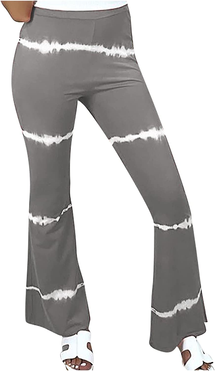 VonVonCo Flare Pants for Women Casual Elastic Girdle Waist Wide Leg Pants Trousers Stretch Printed Horn Gray XX-Large