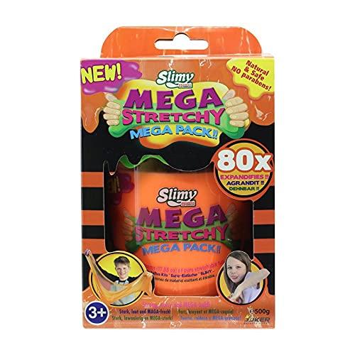 SLIMY Mega Stretchy 500g in Orange - Original Slimy Mega Slime Spielmasse für Kinder, extrem dehnbarer Schleim in der Geschenkbox, elastische Spielknete als Kindergeschenk (Spielzeug ab 3 Jahre)