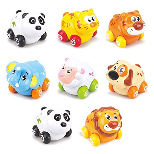 Adorable Animal Friction Toys – Sturdy Push and Go Cars for Babies and Toddlers – 8 Cars in Set, 7 Different Happy Animal Faces – Age 18 Months and Up