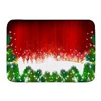 NIESIKKLA バスマット、クリスマスのサンタモミの木、マット滑り止め ソフトタッチ 丸洗い 洗濯 台所 脱衣場 キッチン 玄関やわらかマット 45x 75cm