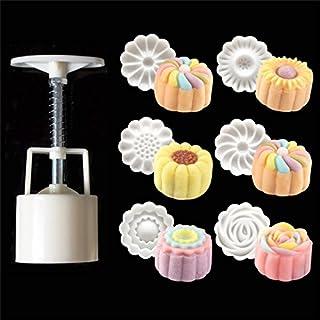 6 pcs Moules à Gâteau de Lune avec, Main Presse Cookie Moule pâtisserie Orientale décoratif, Timbre Floral 3D, Tampons pou...