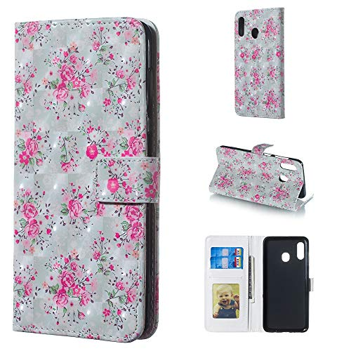 Contracted fashion MMGZ Rose Pattern 3D Horizontal Flip Leather Case for Galaxy A30, with Holder & Card Slots & Photo Frame & Wallet Comfortable feel