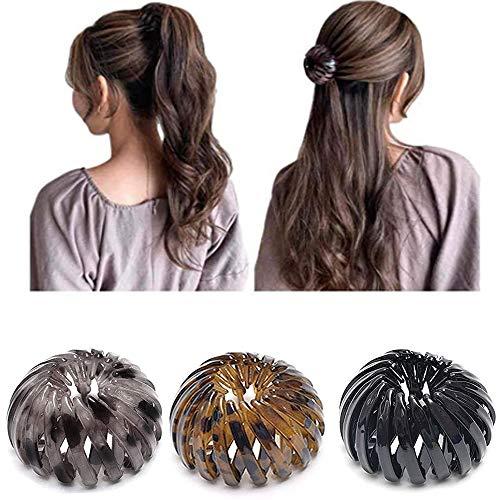 2020 Fashion Retro Leopard Print Hair Style Headbands,Expandable Ponytail Holder Clip,Ponytail Hairpin Curling Iron Aeoram (3PCS-B)