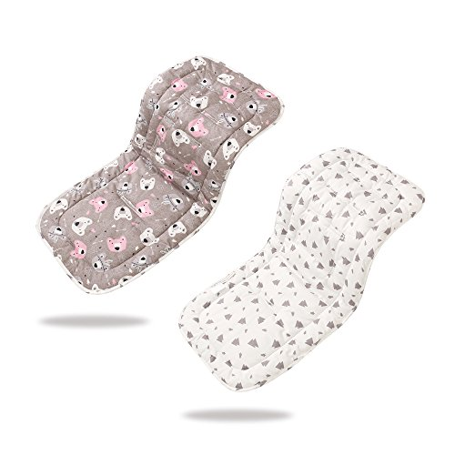 Baby Stroller Liner 32x 80 cm Soft & Reversible Pushchair Pad Cotton Stroller Car Seat Liner Pram Insert Portable Changing Pad, Universal Cover Pushchair Infant Cushion Pad(Koala)