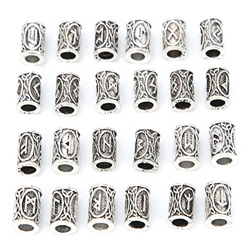 24 piezas de cuentas de runas vikingas, cuentas de tubo de pelo con rastas nórdicas, rastas vintage para trenzar el cabello, decoración, pulsera, collar, colgante, joyería de bricolaje