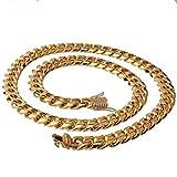 Aeici Collar Cadena INOX Ancho 15mm Collar Cubano Collares Cadena de Hombre Oro 30 Inch