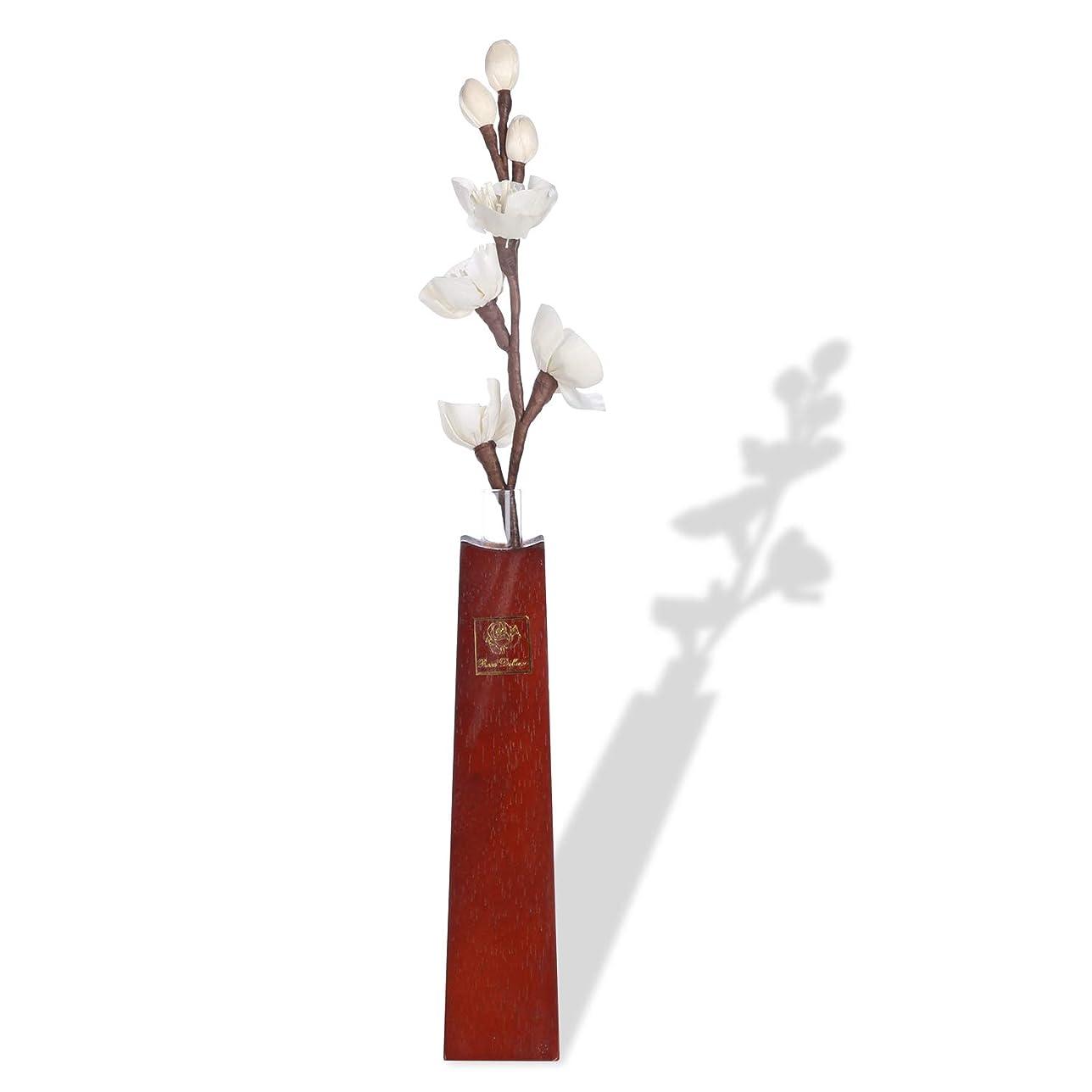 フォーラム打ち負かす急性ルームフレグランス リードディフューザー 和風純木フラワーベース アロマ花瓶 と 一輪挿し紙製造花 (香料を含まない)