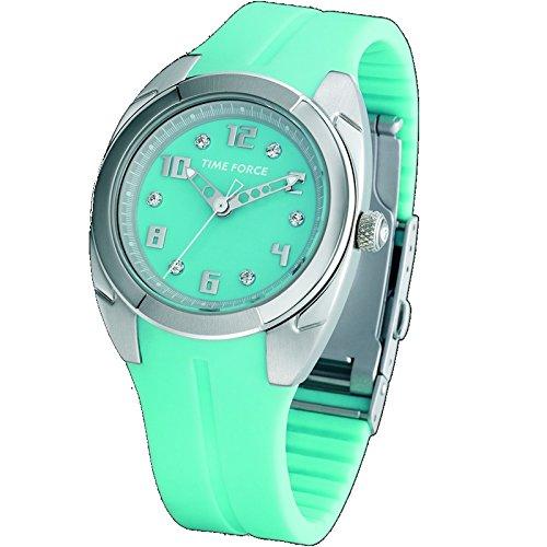 Time Force Tf2908l03 Reloj Analogico para Mujer Caja De Acero Inoxidable Esfera Color Azul