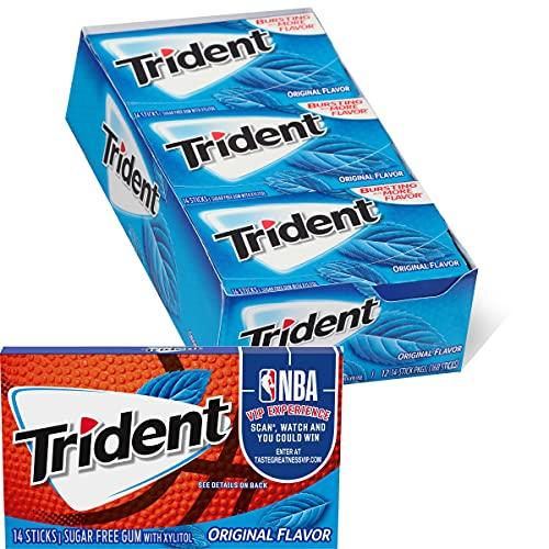 Trident Original Flavor Sugar Free Gum, 12 Packs of 14 Pieces (168 Total Pieces)