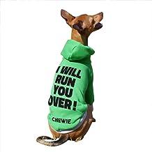 名入れ I WILL RUN YOU OVER! プリント プルオーバー フーディー イタリアングレーハウンド服 犬服 (グレー×グレー, L)