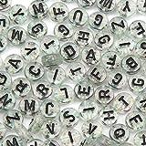 Sadingo Cuentas con letras (650 unidades 7 mm), transparente con purpurina/confeti, impresión negra, pulsera de perlas