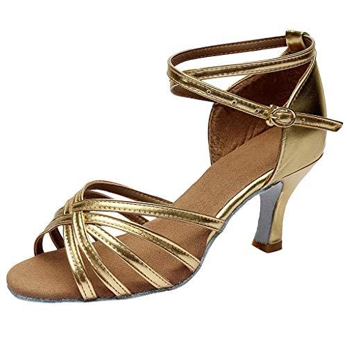 Sillor Tanzschuhe Frau Erwachsene Elegante Peep Toe Umhängetasche Latin Dance Schuhe/Social Party Tanzschuhe Sandalen/Salsa/Satin Tanzschuhe Absatz 5cm