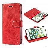 Mulbess Housse pour iPhone 8 Plus, Coque iPhone 7 Plus Cuir, iPhone 8 Plus Cuir, Étui Portefeuille avec à Rabat Magnétique Housse Protection pour iPhone 8 Plus Etui Pochette, Vin Rouge