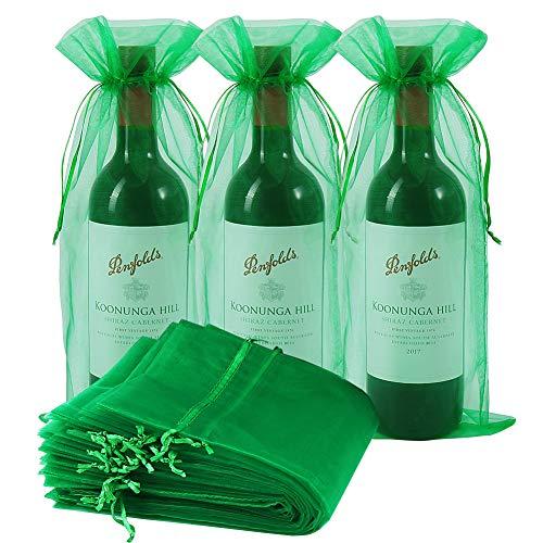 Bolsas de vino Organza, 30 bolsas de regalo para botella de vino con cordón para bodas, cumpleaños, fiestas, festivales de regalo (verde hierba, 750 ml)