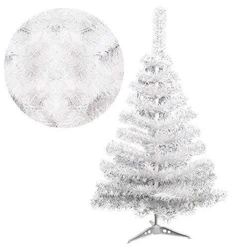 JINPIKER 90cm PVC Christbaum Deko Weihnachten Künstlicher Weihnachtsbaum mit Metallständer, Einfache Auf- und Abbau (Weiß PVC, 90CM)