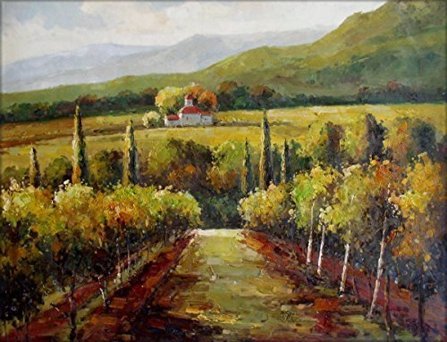 100% Hand Painted Vineyard in Tuscany Italy Canvas Oil Painting for Home Wall Art by Well Known Artist, Framed, Ready to Hang