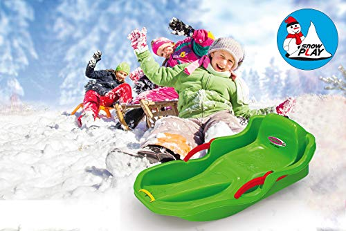 JAMARA 460540 - Snow Play Bob Comfort 80 cm mit Bremse - Lenken durch Bremshebel, aerodynamische Bauweise, langlebiger, schlagzäher Kunststoff-bequemer, ergonomischer Sitz, grün