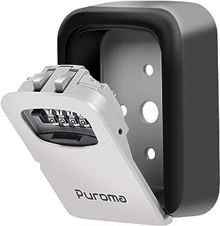 Puroma Key Lock Box, 4-Digit Combination Wall Mount Storage Lockbox 5 Key Large Capacity for House Key, Special Car Key, ID Card