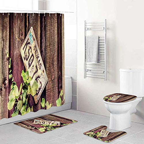 LONSANT Shower Curtain Sets with Non Slip Rugs Toilet Lid Cover and Bath Mat,Abandoned License Plate Wooden Board Plant,Waterproof Bath Curtains With 12 Hooks For Bathroom