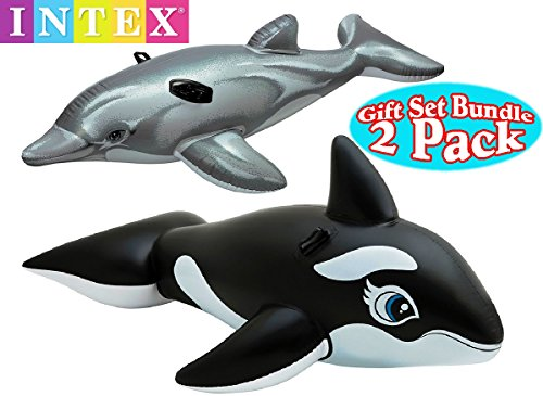 New Intex Pool Floats Dolphin Ride-On & Whale Ride-On Gift Set Bundle - 2 Pack