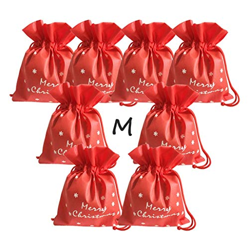 FJCA Christmas Bag Drawstring Fabric Wrapping Bag Party Birthday Pouch Medium Size 8 Packs