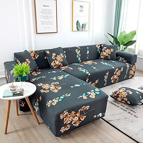 WXQY Sala de Estar Funda de sofá geométrica elástica Funda de sofá de Esquina telescópica Silla de sofá de Dos Asientos Funda de sofá en Forma de L Funda de sofá A10 2 plazas