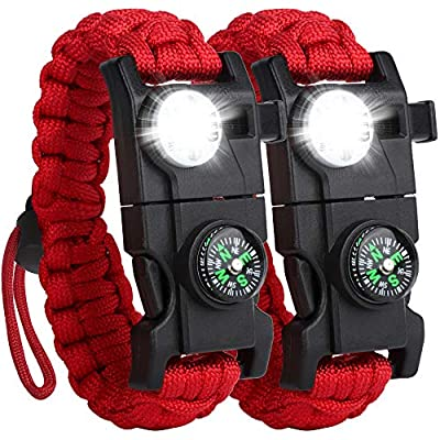 HNYYZL 2 Pack Survival Paracord Bracelet Tactical Emergency Gear Upgrade Design-20 in 1- LED Light, Compass, Fire Starter, Whistle, Knife, Etc, for Outdoor Camping Hiking(Red)